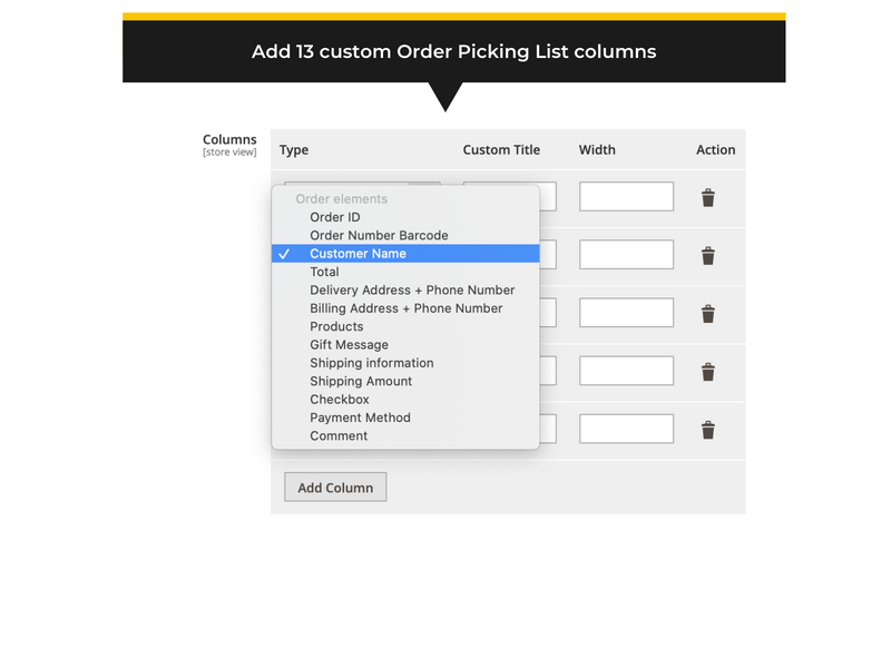 Backend settings and custom column options - Magento 2 order picking list