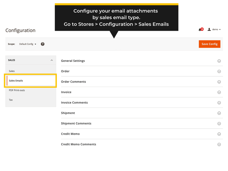 Backend settings - Magento 2 Email Attachments extension by Fooman